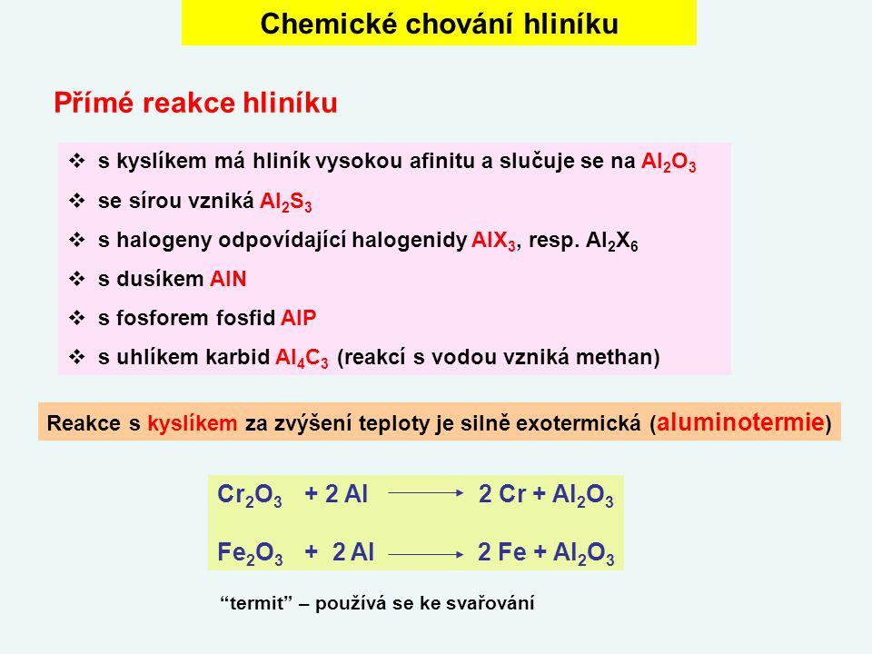 Chemické chování hliníku  s kyslíkem má hliník vysokou afinitu a slučuje se na Al 2 O 3  se sírou vzniká Al 2 S 3  s halogeny odpovídající halogeni