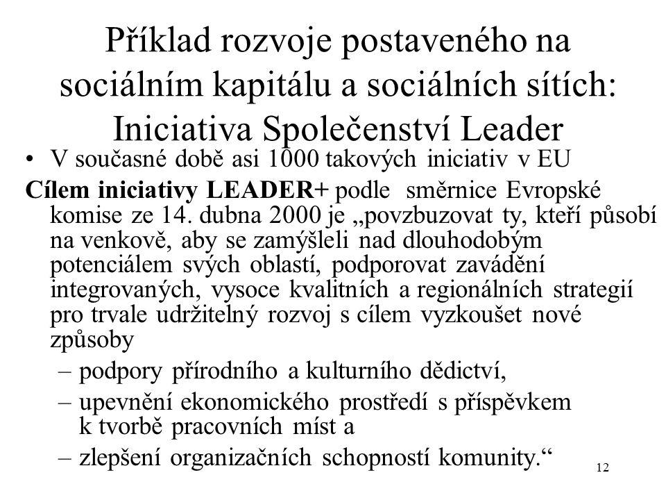 13 Příklad rozvoje postaveného na sociálním kapitálu a sociálních sítích: Iniciativa Společenství Leader V současné době asi 1000 takových iniciativ v EU Prioritní témata: Jak nejlépe využít přírodní a kulturní zdroje vč.