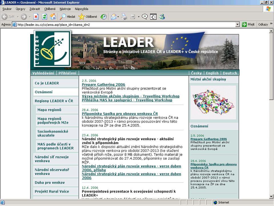 15 Regiony připravující se na Iniciativu Leader v ČR Regiony připravující se na LEADER zaujímají třetinu území republiky a žije v nich zhruba třetina obyvatel venkova
