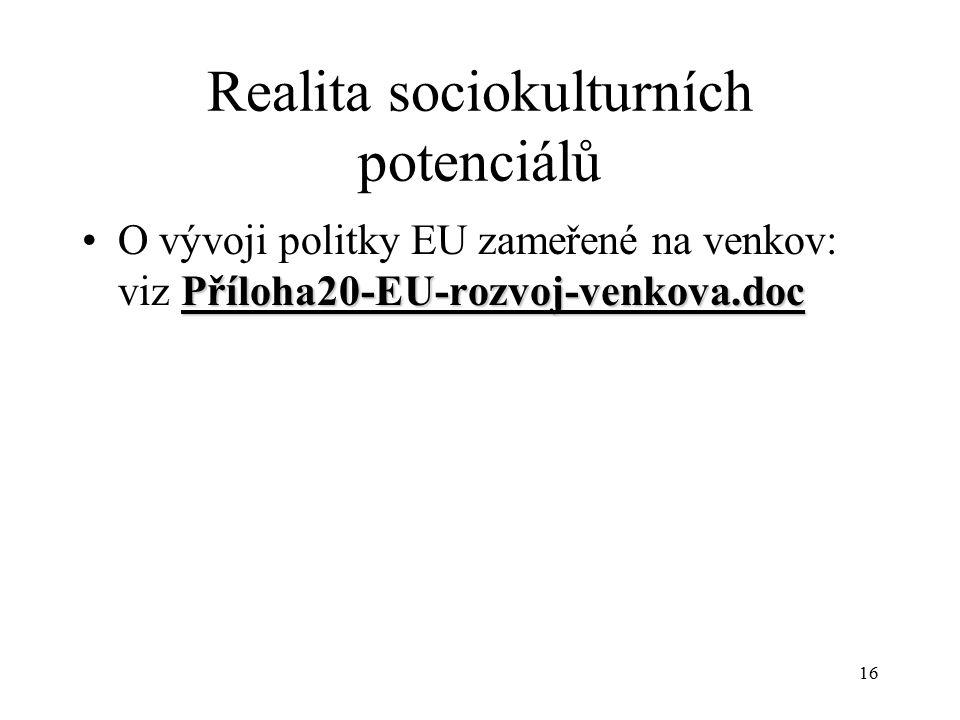 17 Realita sociokulturních potenciálů ČR:ČR: nekomunitní úroveň – sekce vesnice ve Svazu měst a obcí, Spolek pro obnovu venkova (nevládní organizace - NGO)