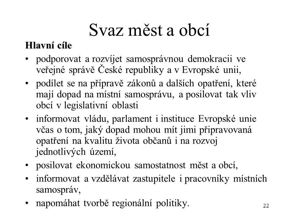 22 Svaz měst a obcí Hlavní cíle podporovat a rozvíjet samosprávnou demokracii ve veřejné správě České republiky a v Evropské unii, podílet se na přípr
