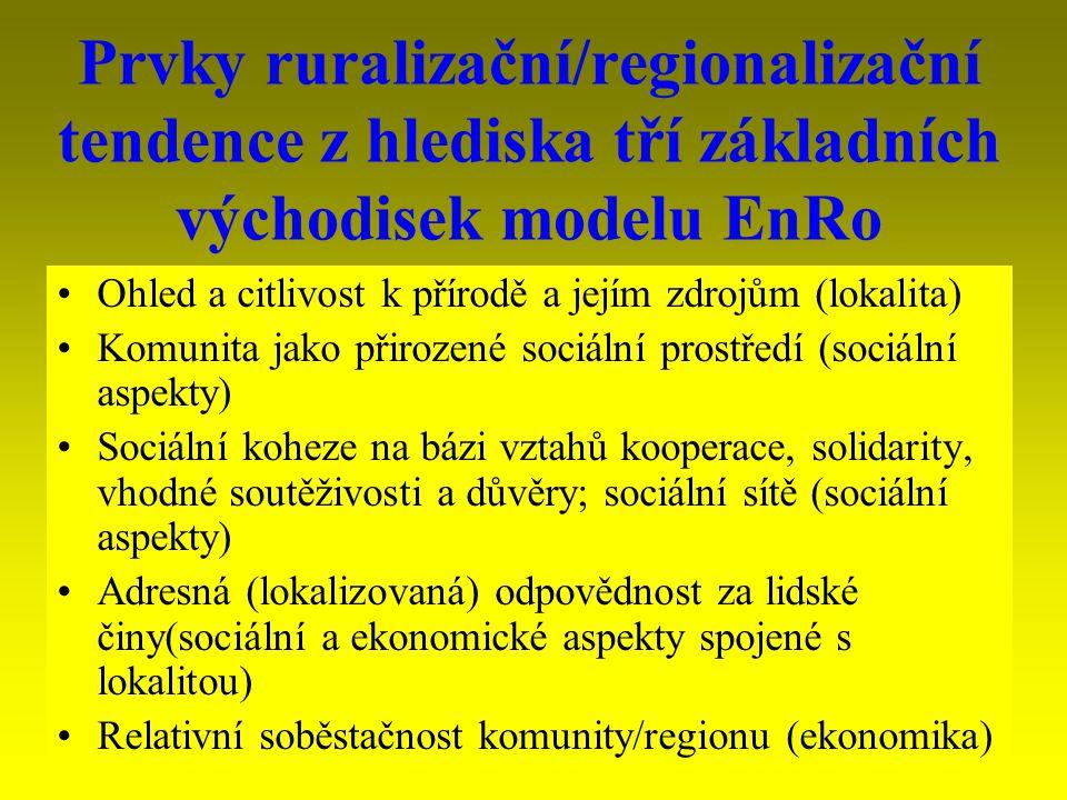 4 Vztah ruralizační/regionalizační tendence k modelům rozvoje ExoRO tuto tendenci nerespektoval EnRo se prosazuje obtížně (důvody):  Myšlení zaměřené na centralizaci (projekt modernity -- McDonaldizace)  Myšlení založené na unifikaci (projekt modernity – McDonaldizace)  Myšlení založené na materiálních faktorech (ne na nehmotných faktorech typu podpory lidského, kulturního, intelektuálního a sociálního kapitálu)