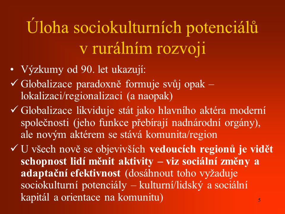 6 příloha 15 Sociální kapitál ( viz dříve, příloha 15) Nehmatatelné, neekonomické aspekty, společnosti, které přispívají k ekonomickému růstu a rozvoji Založen na opakovaných sociálních interakcích, které rozvíjejí důvěru, sociální normy a posilují spolupráci a reciprocitu, ale vedou i k určitému soupeření) Suma aktuálních i potenciálních zdrojů, které může určitá osoba užívat díky tomu, že se zná s druhými lidmi (bohatství styků a známostí, které mohou být užitečné) – P.