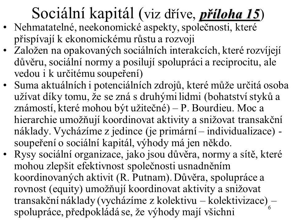 7 Kulturní kapitál (viz dříve) zvláštní forma získaných předpokladů jedince nebo skupiny k dosažení určitého sociálního statusu, která je vázána na charakter a úroveň socializace (suma znalostí, vědomostí, a rodinného původu, které máme) Jeho součástí je kapitál lidský (viz dříve a skripta)