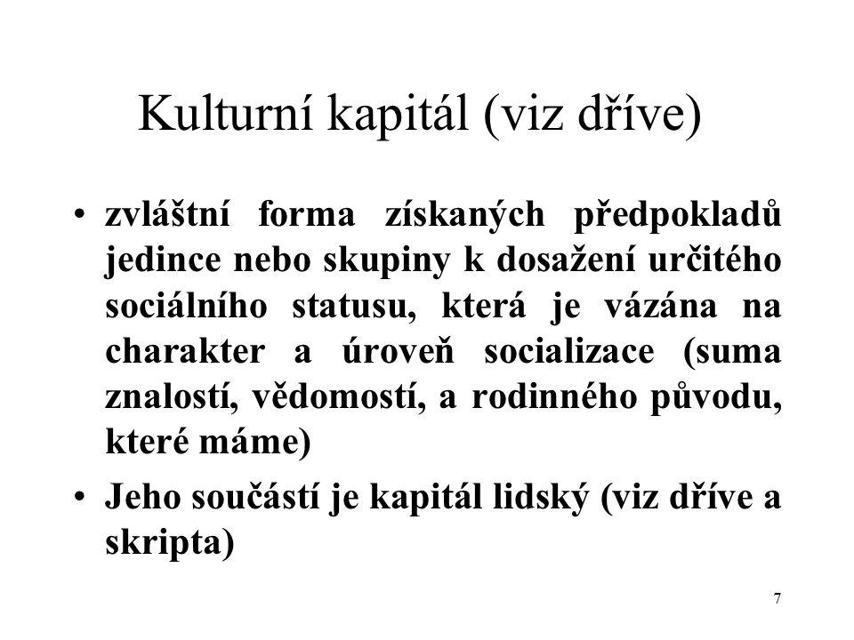 8 příloha 15 Sociální sítě (viz dříve + propojit se sociálním kapitálem, příloha 15) Pravidelný soubor kontaktů nebo podobných sociálních spojení mezi jednotlivci nebo skupinami.