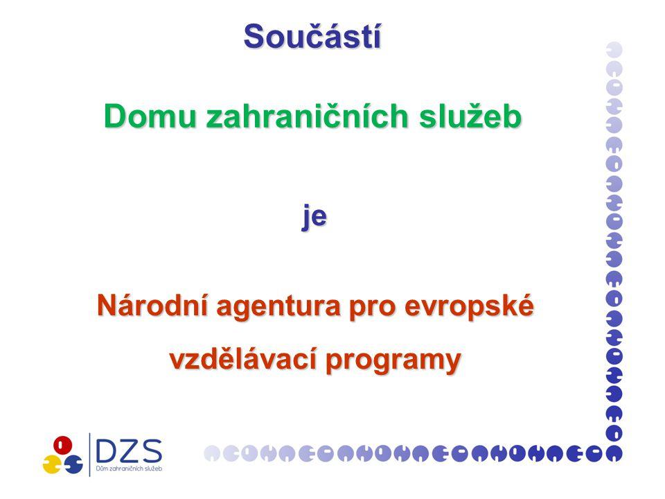 Národní agentura pro evropské vzdělávací programy (NAEP )  Součást DZS od roku 2007  implementuje program LLP v České republice  vytváří informační systém o vzdělávacích programech EU  poskytuje informační a konzultační služby  administruje žádosti o granty  připravuje národní a mezinárodní konference  vydává informační materiály  webové stránky www.naep.cz