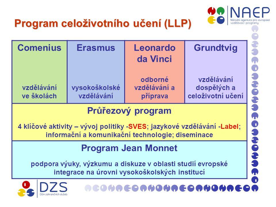 Program celoživotního učení (LLP) Program celoživotního učení (LLP) Comenius vzdělávání ve školách Erasmus vysokoškolské vzdělávání Leonardo da Vinci odborné vzdělávání a příprava Grundtvig vzdělávání dospělých a celoživotní učení Průřezový program 4 klíčové aktivity – vývoj politiky -SVES; jazykové vzdělávání -Label; informační a komunikační technologie; diseminace Program Jean Monnet podpora výuky, výzkumu a diskuze v oblasti studií evropské integrace na úrovni vysokoškolských institucí