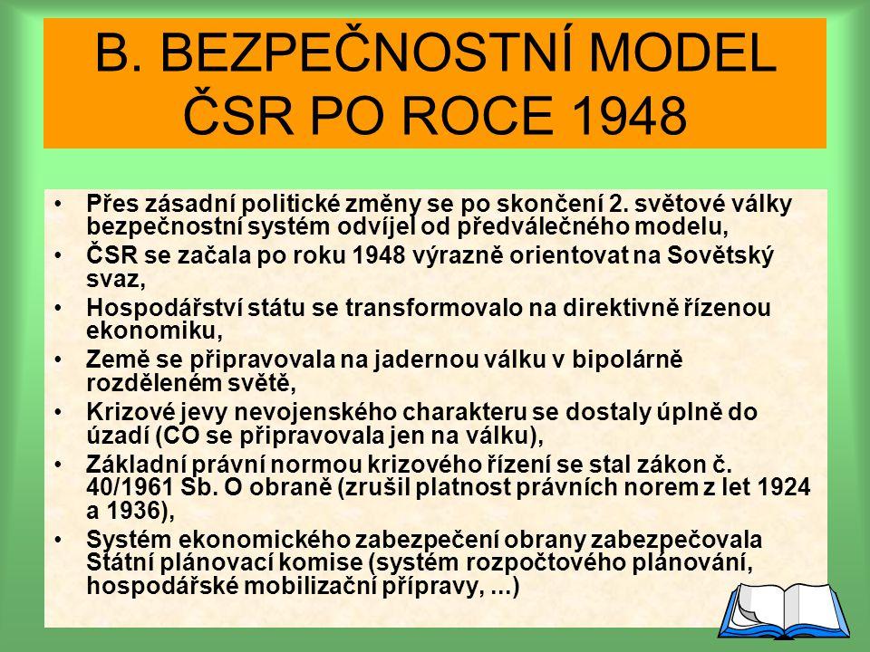 Bezpečnostný model ČSR po roku 1948: B. BEZPEČNOSTNÍ MODEL ČSR PO ROCE 1948 Přes zásadní politické změny se po skončení 2. světové války bezpečnostní