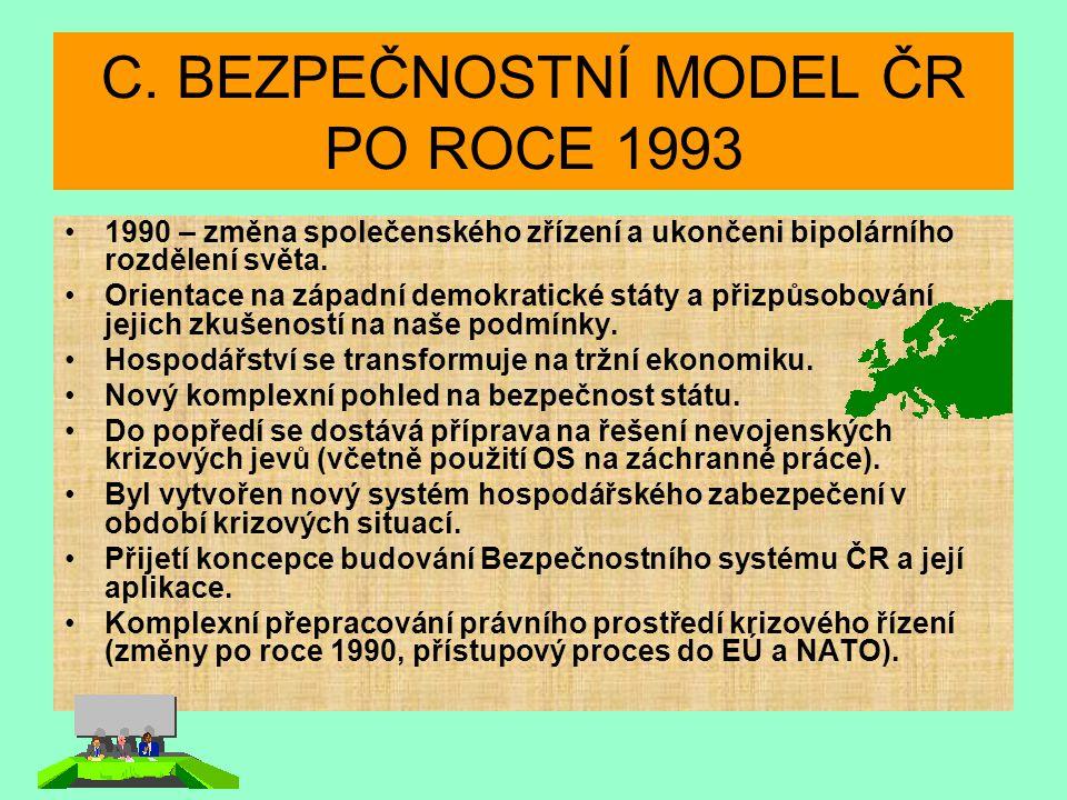 C. BEZPEČNOSTNÍ MODEL ČR PO ROCE 1993 1990 – změna společenského zřízení a ukončeni bipolárního rozdělení světa. Orientace na západní demokratické stá