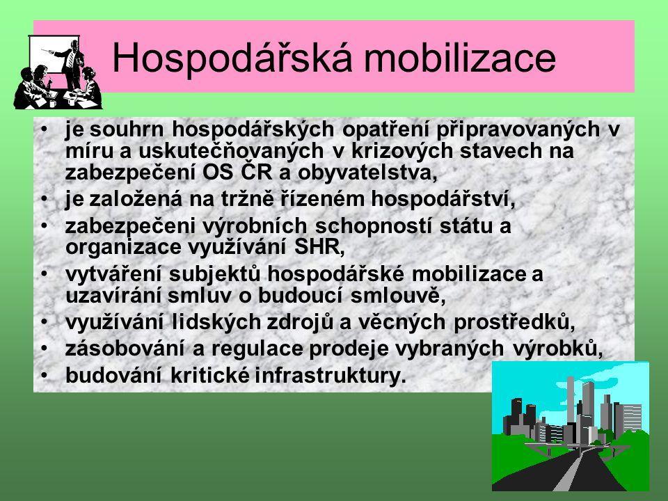 Hospodářská mobilizace je souhrn hospodářských opatření připravovaných v míru a uskutečňovaných v krizových stavech na zabezpečení OS ČR a obyvatelstv