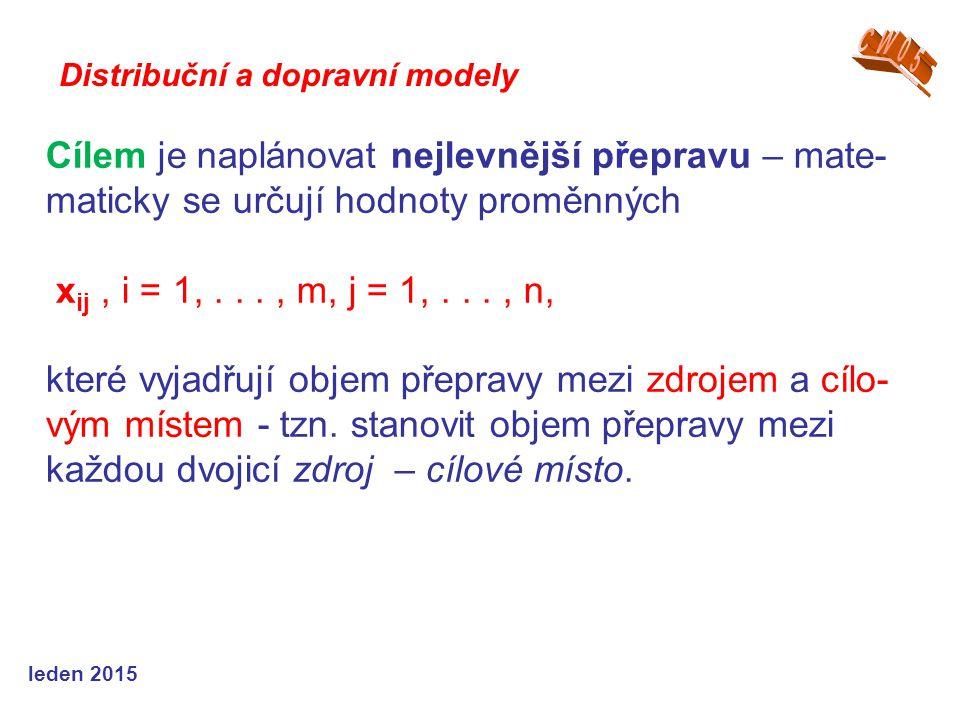 Cílem je naplánovat nejlevnější přepravu – mate- maticky se určují hodnoty proměnných x ij, i = 1,..., m, j = 1,..., n, které vyjadřují objem přepravy mezi zdrojem a cílo- vým místem - tzn.
