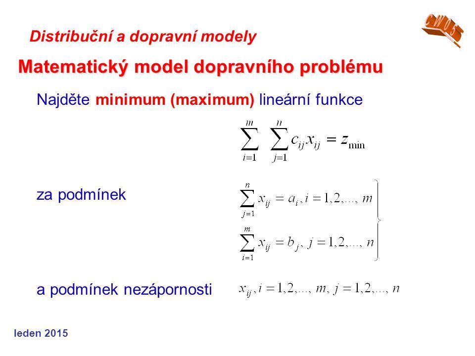 Najděte minimum (maximum) lineární funkce za podmínek a podmínek nezápornosti Matematický model dopravního problému Distribuční a dopravní modely leden 2015