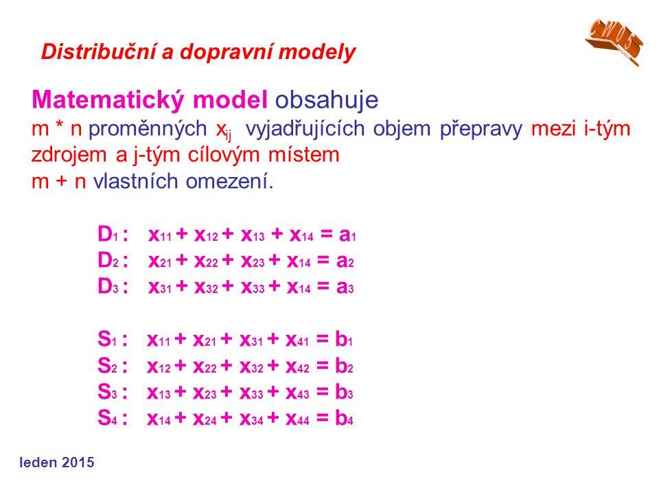 Matematický model obsahuje m * n proměnných x ij vyjadřujících objem přepravy mezi i-tým zdrojem a j-tým cílovým místem m + n vlastních omezení.