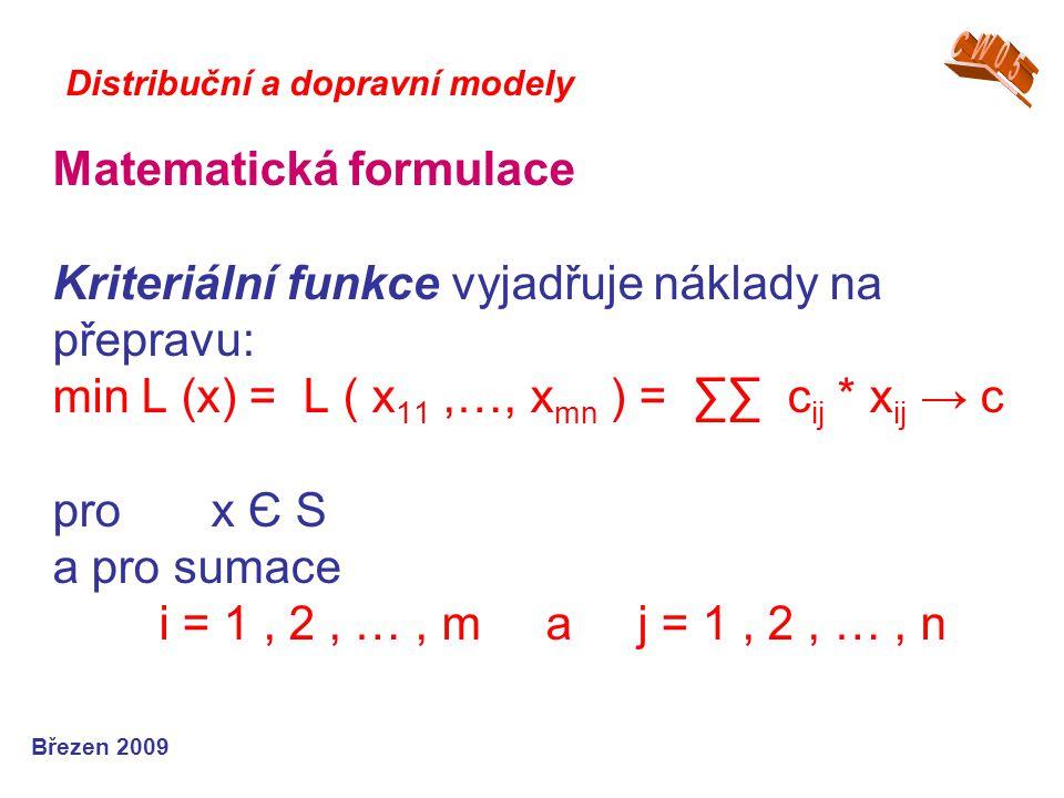 Matematická formulace Kriteriální funkce vyjadřuje náklady na přepravu: min L (x) = L ( x 11,…, x mn ) = ∑∑ c ij * x ij → c pro x Є S a pro sumace i = 1, 2, …, m a j = 1, 2, …, n Březen 2009 Distribuční a dopravní modely