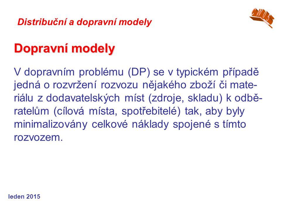Dopravní modely Dopravní modely V dopravním problému (DP) se v typickém případě jedná o rozvržení rozvozu nějakého zboží či mate- riálu z dodavatelských míst (zdroje, skladu) k odbě- ratelům (cílová místa, spotřebitelé) tak, aby byly minimalizovány celkové náklady spojené s tímto rozvozem.