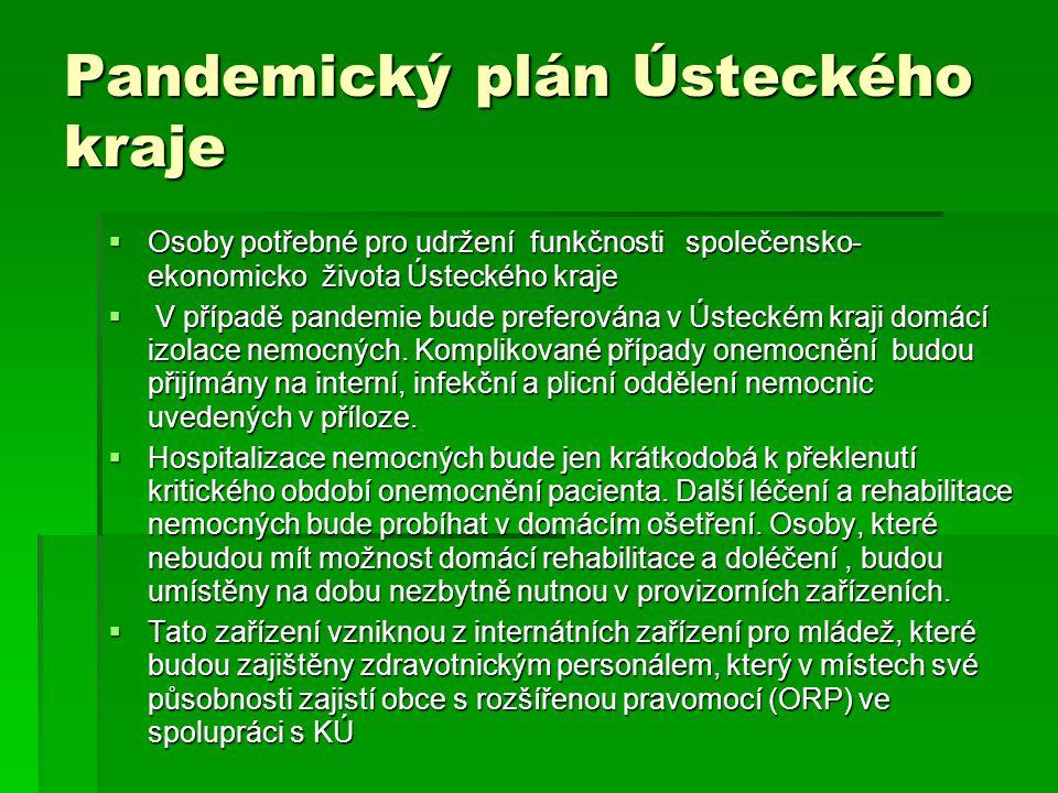  Osoby potřebné pro udržení funkčnosti společensko- ekonomicko života Ústeckého kraje  V případě pandemie bude preferována v Ústeckém kraji domácí i