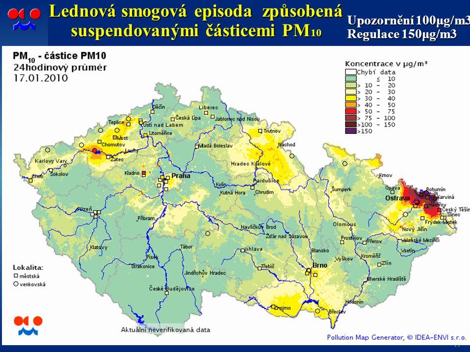 11 Lednová smogová episoda způsobená suspendovanými částicemi PM 10 Upozornění 100μg/m3 Regulace 150μg/m3