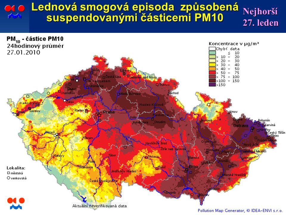 12 Lednová smogová episoda způsobená suspendovanými částicemi PM10 Nejhorší 27. leden