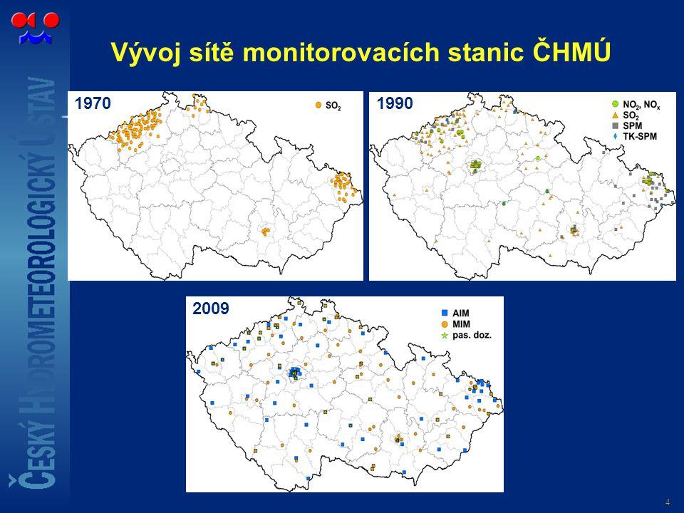 4 Vývoj sítě monitorovacích stanic ČHMÚ 19701990 2009