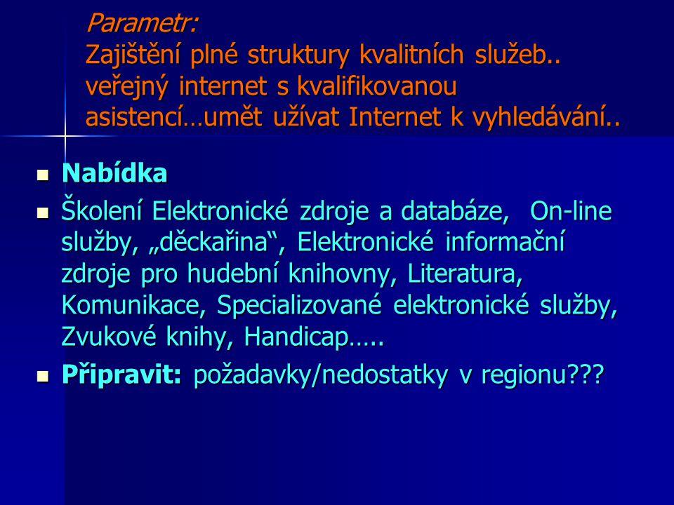 Parametr: Zajištění plné struktury kvalitních služeb..