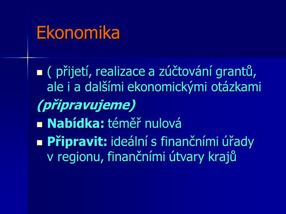 Ekonomika ( přijetí, realizace a zúčtování grantů, ale i a dalšími ekonomickými otázkami ( přijetí, realizace a zúčtování grantů, ale i a dalšími ekonomickými otázkami(připravujeme) Nabídka: téměř nulová Nabídka: téměř nulová Připravit: ideální s finančními úřady v regionu, finančními útvary krajů Připravit: ideální s finančními úřady v regionu, finančními útvary krajů