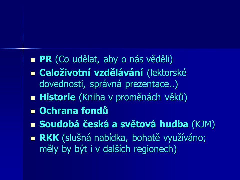 PR (Co udělat, aby o nás věděli) PR (Co udělat, aby o nás věděli) Celoživotní vzdělávání (lektorské dovednosti, správná prezentace..) Celoživotní vzdělávání (lektorské dovednosti, správná prezentace..) Historie (Kniha v proměnách věků) Historie (Kniha v proměnách věků) Ochrana fondů Ochrana fondů Soudobá česká a světová hudba (KJM) Soudobá česká a světová hudba (KJM) RKK (slušná nabídka, bohatě využíváno; měly by být i v dalších regionech) RKK (slušná nabídka, bohatě využíváno; měly by být i v dalších regionech)