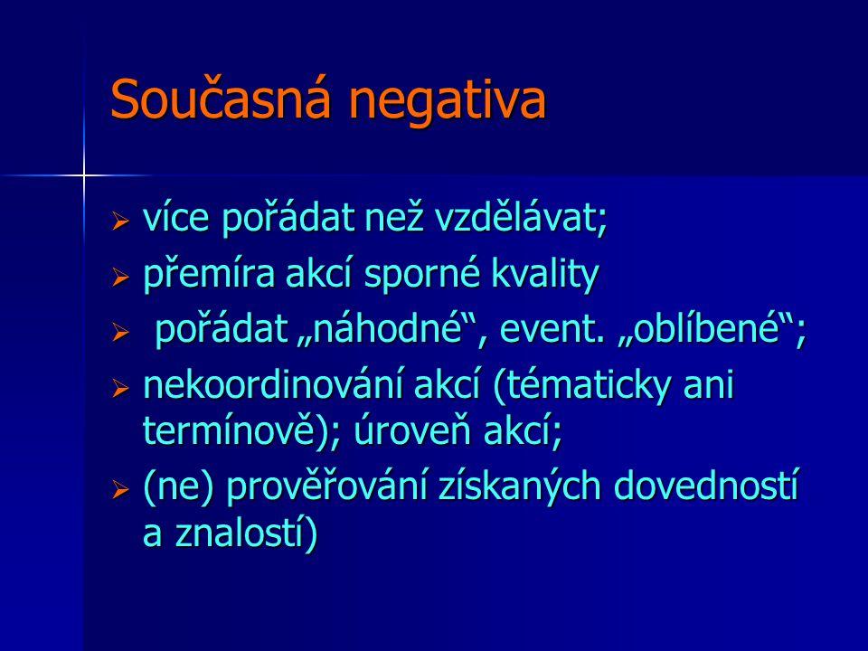 """Současná negativa  více pořádat než vzdělávat;  přemíra akcí sporné kvality  pořádat """"náhodné , event."""