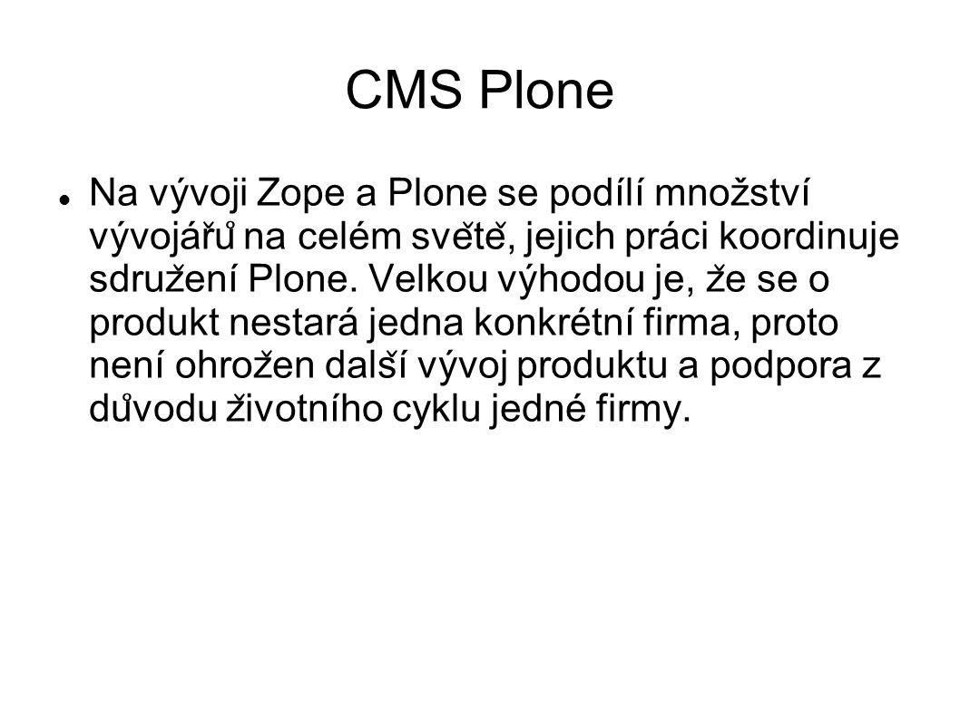 CMS Plone V OB provozujeme Plone verze 3 Každým dnem má být uvolněna generačně nová verze Plone, kterou plánujeme v roce 2015 nasadit u vybraných OB Nová verze přinese další možnosti rozvoje a zlepší kompatibilitu s novými verzemi prohlížečů, stabilitu i bezpečnost