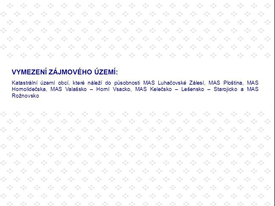 VYMEZENÍ ZÁJMOVÉHO ÚZEMÍ: Katastrální území obcí, které náleží do působnosti MAS Luhačovické Zálesí, MAS Ploština, MAS Hornolidečska, MAS Valašsko – Horní Vsacko, MAS Kelečsko – Lešensko – Starojicko a MAS Rožnovsko