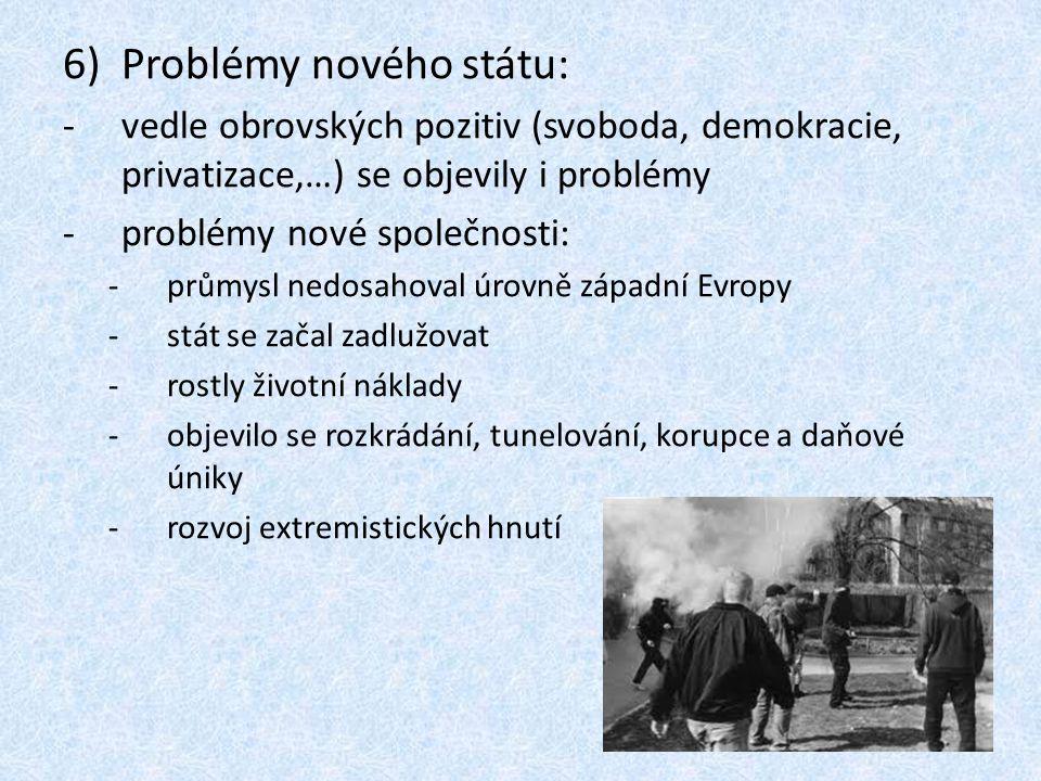6)Problémy nového státu: -vedle obrovských pozitiv (svoboda, demokracie, privatizace,…) se objevily i problémy -problémy nové společnosti: -průmysl ne