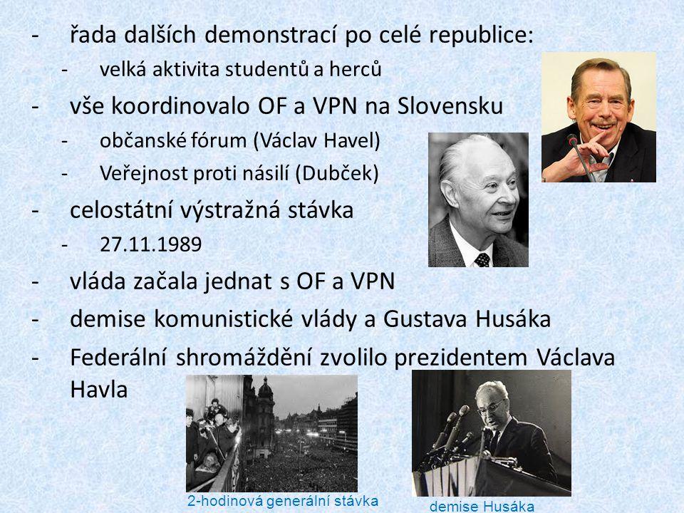 -řada dalších demonstrací po celé republice: -velká aktivita studentů a herců -vše koordinovalo OF a VPN na Slovensku -občanské fórum (Václav Havel) -
