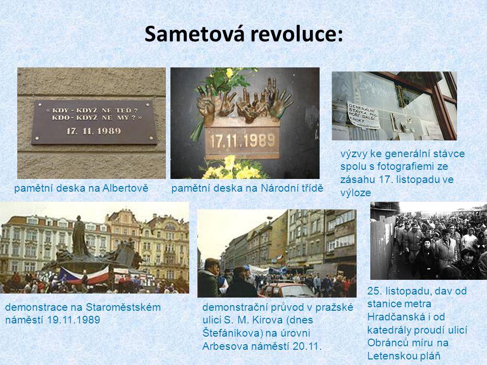 Sametová revoluce: pamětní deska na Albertověpamětní deska na Národní třídě demonstrace na Staroměstském náměstí 19.11.1989 demonstrační průvod v praž