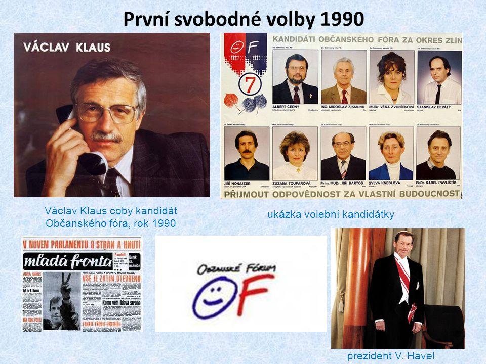 První svobodné volby 1990 Václav Klaus coby kandidát Občanského fóra, rok 1990 ukázka volební kandidátky prezident V. Havel
