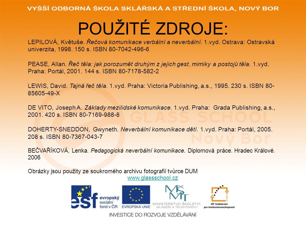 POUŽITÉ ZDROJE: www.glassschool.cz LEPILOVÁ, Květuše. Řečová komunikace verbální a neverbální. 1.vyd. Ostrava: Ostravská univerzita, 1998. 150 s. ISBN