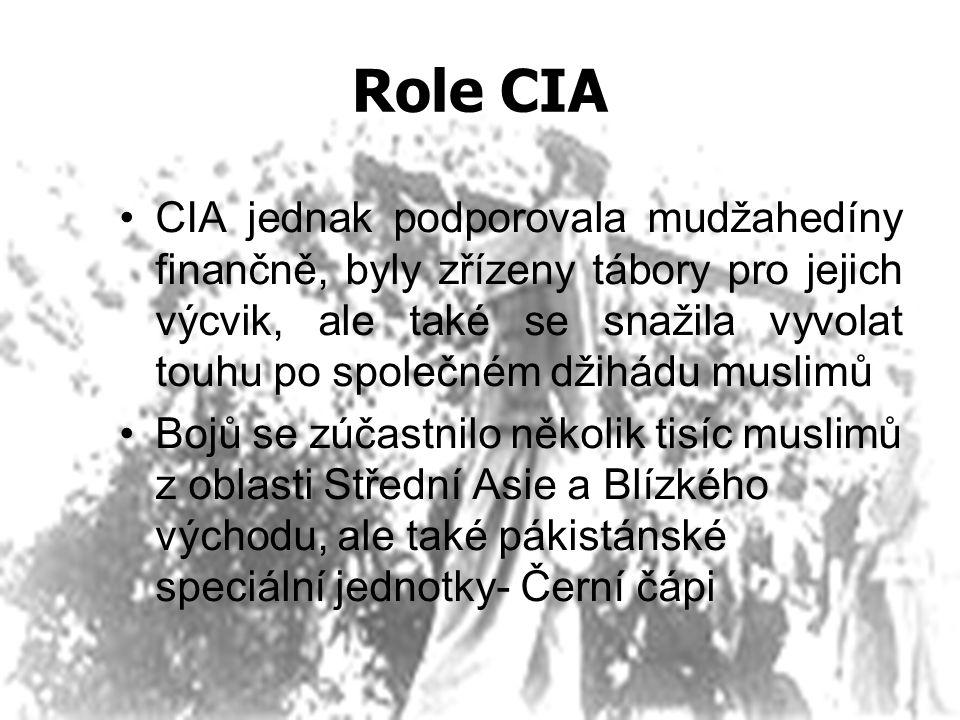 Role CIA CIA jednak podporovala mudžahedíny finančně, byly zřízeny tábory pro jejich výcvik, ale také se snažila vyvolat touhu po společném džihádu mu