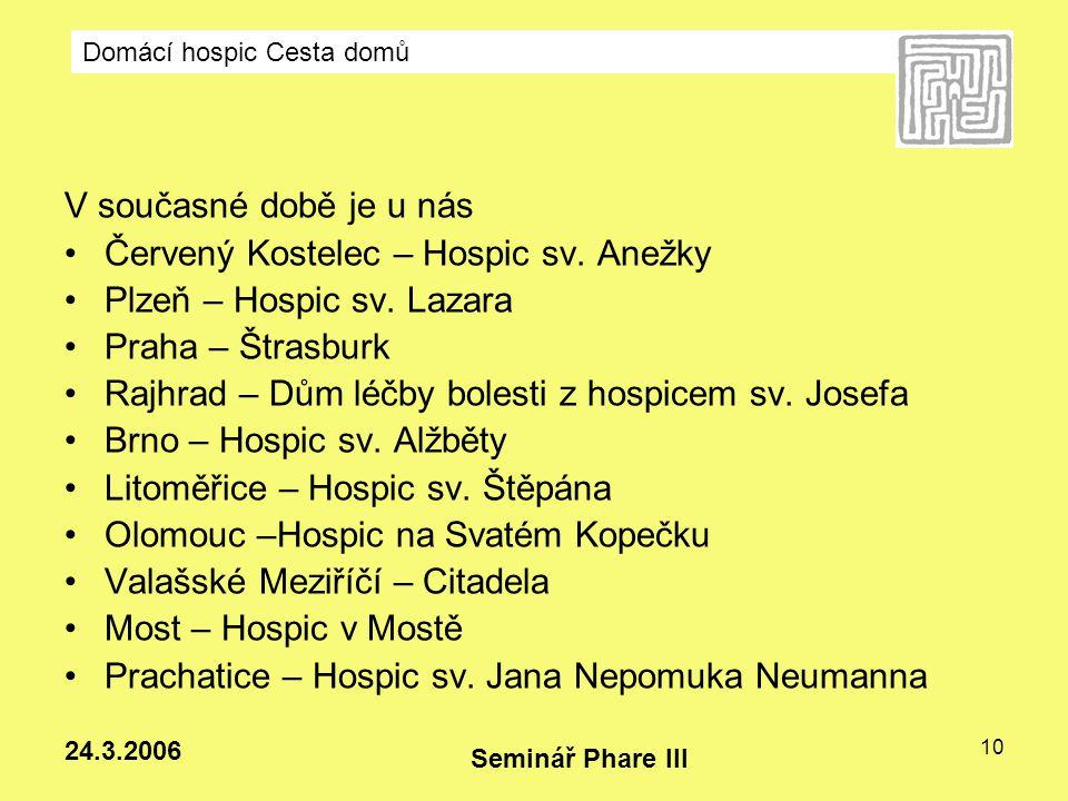 Domácí hospic Cesta domů Seminář Phare III 24.3.2006 10 V současné době je u nás Červený Kostelec – Hospic sv. Anežky Plzeň – Hospic sv. Lazara Praha