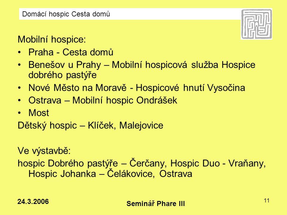 Domácí hospic Cesta domů Seminář Phare III 24.3.2006 11 Mobilní hospice: Praha - Cesta domů Benešov u Prahy – Mobilní hospicová služba Hospice dobrého