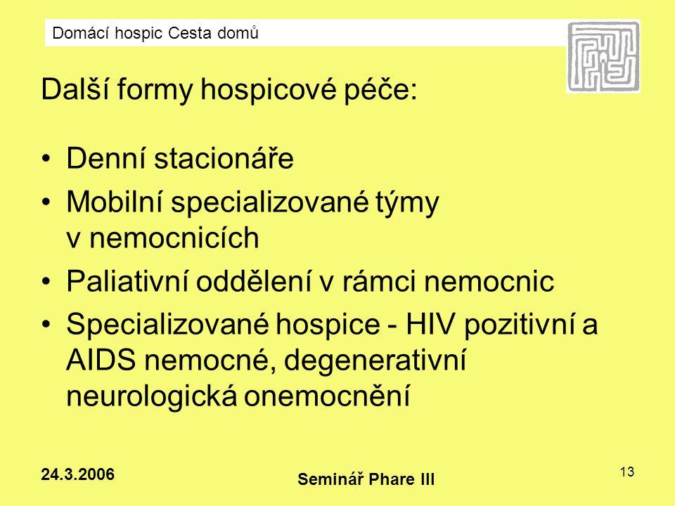 Domácí hospic Cesta domů Seminář Phare III 24.3.2006 13 Další formy hospicové péče: Denní stacionáře Mobilní specializované týmy v nemocnicích Paliati