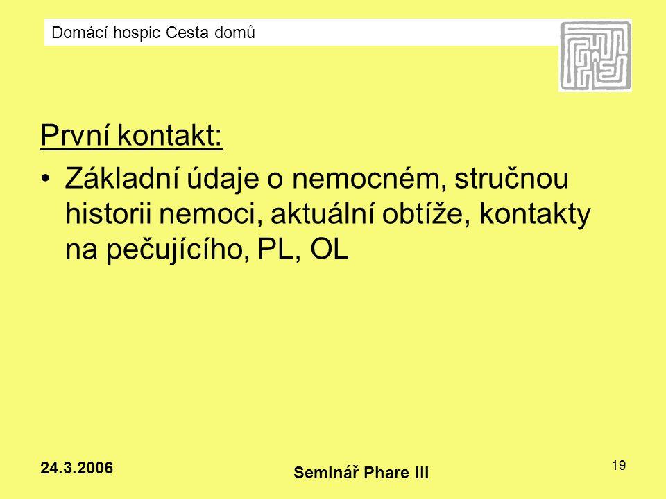 Domácí hospic Cesta domů Seminář Phare III 24.3.2006 19 První kontakt: Základní údaje o nemocném, stručnou historii nemoci, aktuální obtíže, kontakty
