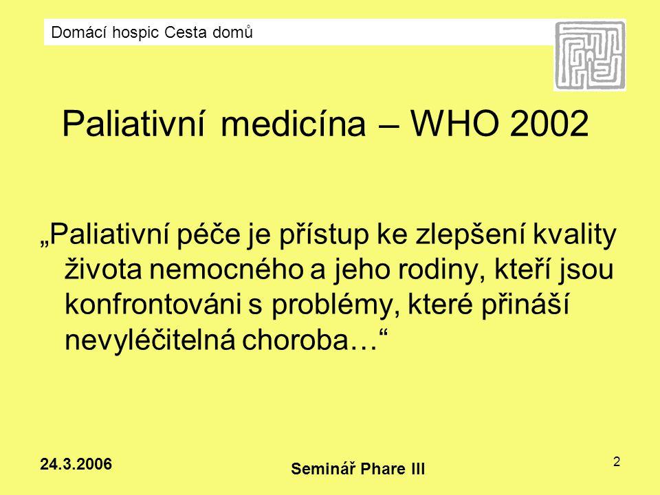 Domácí hospic Cesta domů Seminář Phare III 24.3.2006 13 Další formy hospicové péče: Denní stacionáře Mobilní specializované týmy v nemocnicích Paliativní oddělení v rámci nemocnic Specializované hospice - HIV pozitivní a AIDS nemocné, degenerativní neurologická onemocnění