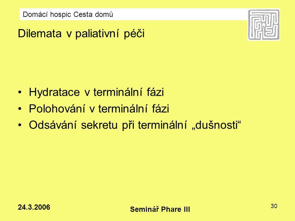 Domácí hospic Cesta domů Seminář Phare III 24.3.2006 30 Dilemata v paliativní péči Hydratace v terminální fázi Polohování v terminální fázi Odsávání s