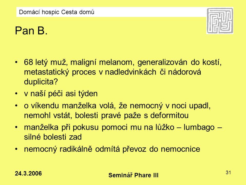 Domácí hospic Cesta domů Seminář Phare III 24.3.2006 31 Pan B. 68 letý muž, maligní melanom, generalizován do kostí, metastatický proces v nadledvinká