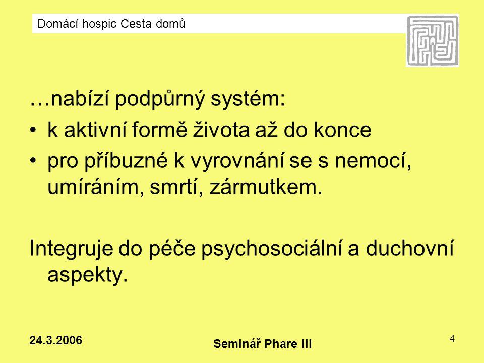 Domácí hospic Cesta domů Seminář Phare III 24.3.2006 5 TERMINÁLNíTERMINÁLNí Kurativní .