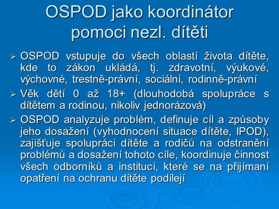 OSPOD jako koordinátor pomoci nezl. dítěti  OSPOD vstupuje do všech oblastí života dítěte, kde to zákon ukládá, tj. zdravotní, výukové, výchovné, tre
