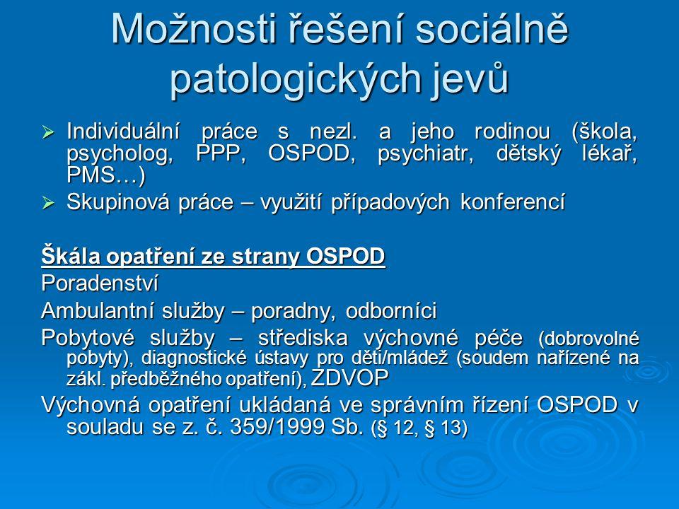 Možnosti řešení sociálně patologických jevů  Individuální práce s nezl. a jeho rodinou (škola, psycholog, PPP, OSPOD, psychiatr, dětský lékař, PMS…)