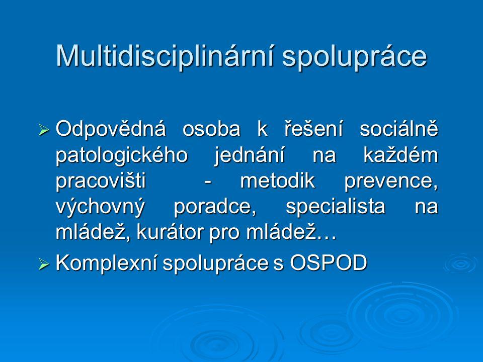 Multidisciplinární spolupráce  Odpovědná osoba k řešení sociálně patologického jednání na každém pracovišti - metodik prevence, výchovný poradce, spe