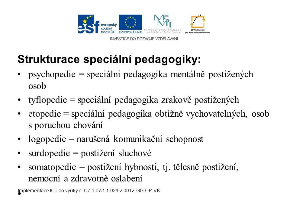 Strukturace speciální pedagogiky: psychopedie = speciální pedagogika mentálně postižených osob tyflopedie = speciální pedagogika zrakově postižených e