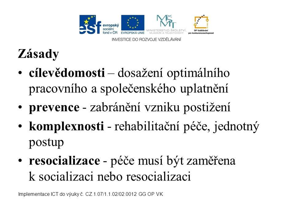 Zásady cílevědomosti – dosažení optimálního pracovního a společenského uplatnění prevence - zabránění vzniku postižení komplexnosti - rehabilitační pé