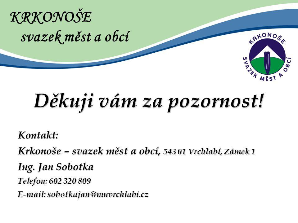Děkuji vám za pozornost. Kontakt: Krkonoše – svazek měst a obcí, 543 01 Vrchlabí, Zámek 1 Ing.