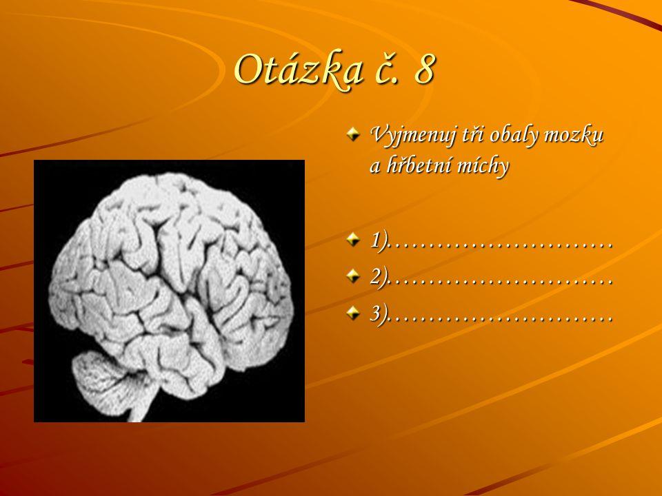 Otázka č. 8 Vyjmenuj tři obaly mozku a hřbetní míchy 1)………………………2)………………………3)………………………